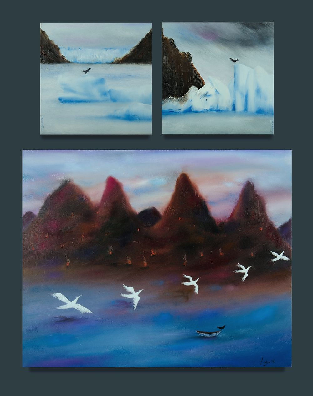 'LODGE, Annette (b.1955) (3) Land of Fire, 2006 (61x76cm); Glacier Grey, Patagonia I & III, 2005 (30x30cm each). All ex Soho Galleries, Sydney Oil on Canvas (3)'