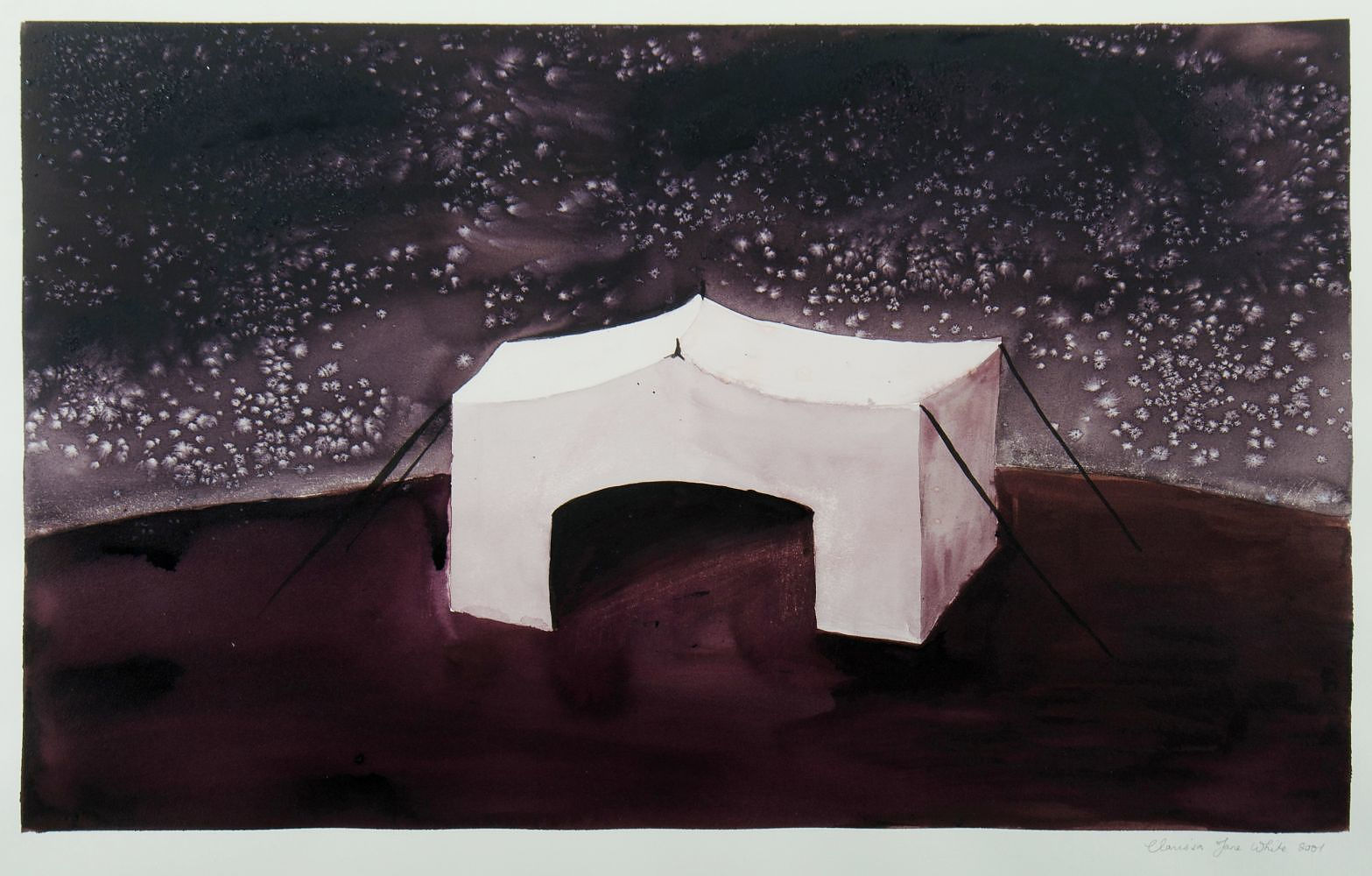 'WHITE, Clarissa Jane, Tent at Night, 2001 Watercolour & Gouache'
