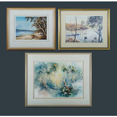 Australian School (3) Janet COBB, 'Twisted Gums,' w/clr (53x72cm); Beatrice DREW, 'Still Waters, Swan Lake, Sussex Inlet,' oil (34x47cm); & N HOWARD, 'Afternoon, Oatley Bay,' w/clr (38x54cm)