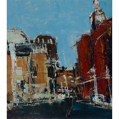 CARROLL, Rachel (b.1975) (2) 'George Street,' acrylic (32x29cm); & 'Red Haze, the Highlands,' May 2000, monotype (15x15cm)
