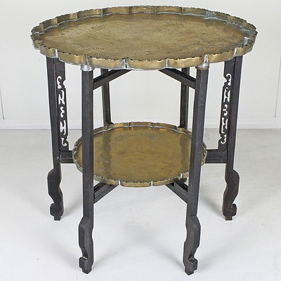 Antique Asian Engraved Brass and Carved Hardwood Two Tier Folding Table
