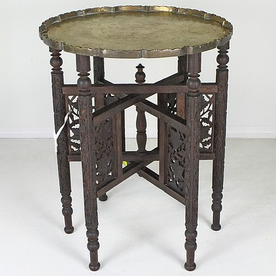 Antique Oriental Carved Hardwood and Engraved Brass Folding Table