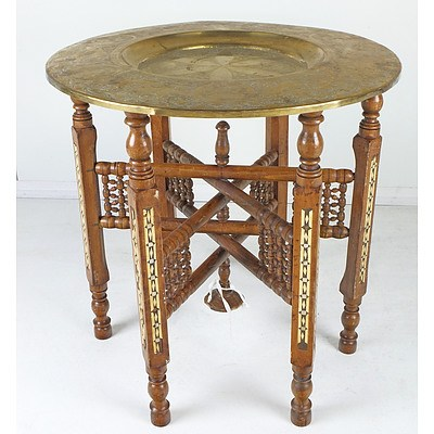 Antique Middle Eastern Inlaid Wood and Engraved Folding Table