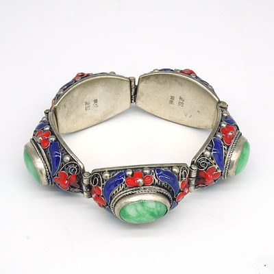 Sterling Silver Linked Bracelet with Blue and Red Enamel and Oval Treated Green Cabochon Gems