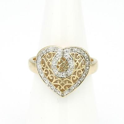 9ct Yellow Gold Ring with Heart Shaped Filigree Top with Twenty Eight Round Brilliant Cut Diamonds