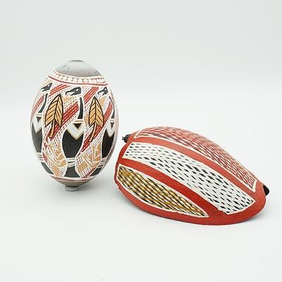 Hand Painted Aboriginal Emu Egg and Shell