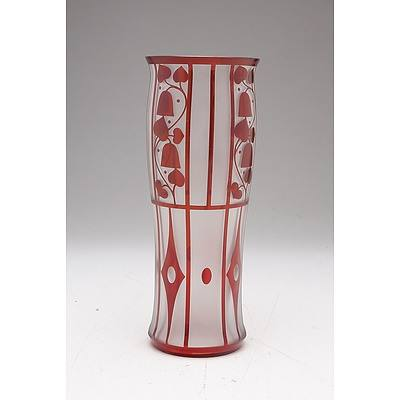Bohemian Ruby Overlay Cameo Cut Glass Vase in the Style of Josef Hoffmann, Late 20th Century