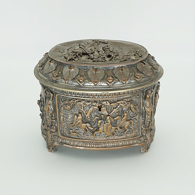 French Cast High Relief Sheffield Plate Jewellery Casket Circa 1900