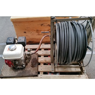 Honda GX160 motor Nova spray pump,100meters of 12.5mm spray hose on reel, 150L Chemical tank