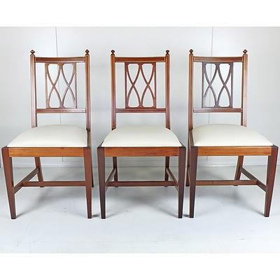Three Sheraton Revival String Inlaid Mahogany Chairs Early 20th Century