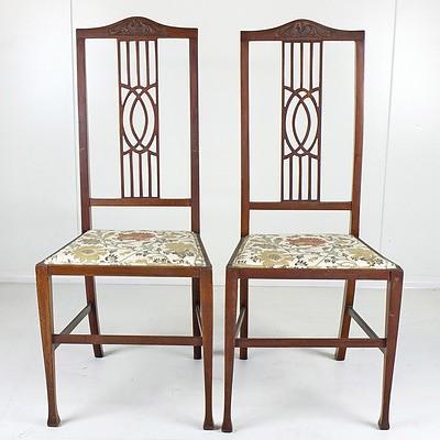 Pair of Edwardian Walnut Side Chairs