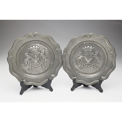 Two Antique French Pewter Hand Wrought Lobed Dishes Bearing the Arms of Chambery