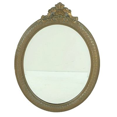 Antique Wood and Moulded Gesso Mirror with Original Bronzed Finish, Label of John Leech Carver and Gilder Auckland