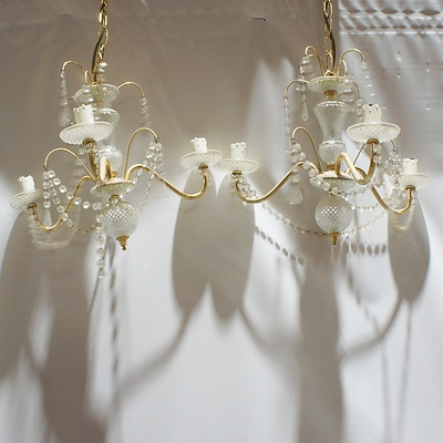 Pair of Decorative Cut Glass Ball and Body Electroleirs