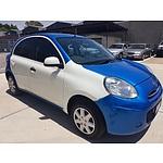 10/2012 Nissan Micra ST K13 UPGRADE 5d Hatchback Blue/White 1.2L