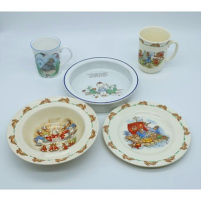 Royal Doulton Bunnykins Plate, Cup and Bowl and Other Bone China