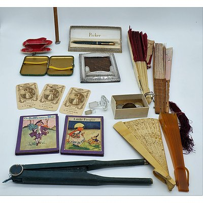 Group of Various Collectibles Including a Tin Cigarette Case, Parum Lariette Calendar Cards and More