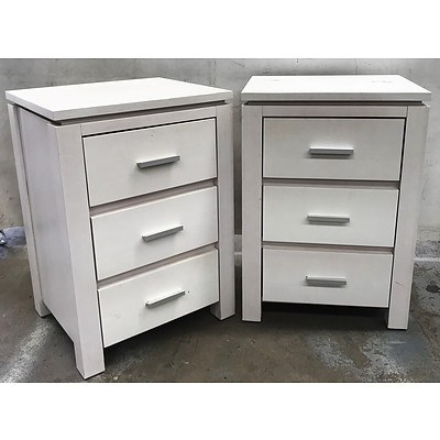 White Painted Pine Bed Side Tables - Set of 2