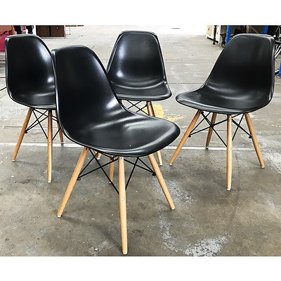 Set of 4 Black Replica Eames Chairs