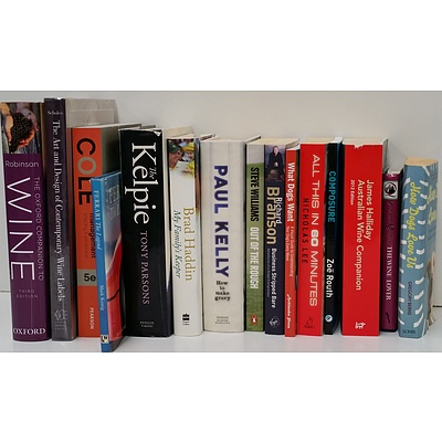 Selection of Books On Sport, Business, Biographies, Pet Training, Wine Reference and More - Lot of 15