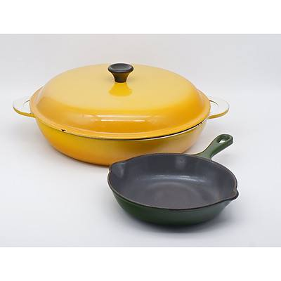 Vintage Enamel Cast Iron Cookware Including Small Le Creuset Green Pan