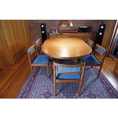 Retro Vintage Teak Extension Table and Six Chairs