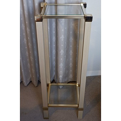 Bevelled Glass and Metal Two Tier Pedestal