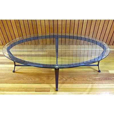 Impressive Wrought Iron and Bevelled Glass Oval Coffee Table