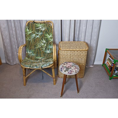 Bamboo and Wicker Table and Matching Armchair Plus Glass Table, Small Stool and Woven Laundry Basket