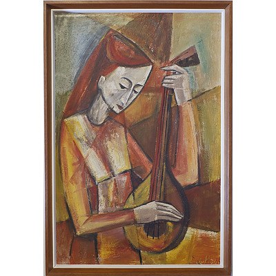 Lola de Mar (Early Canberra Artist) Cubist Mandolin Player Oil on Board