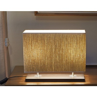 Contemporary Table Lamp with Raffia Shade