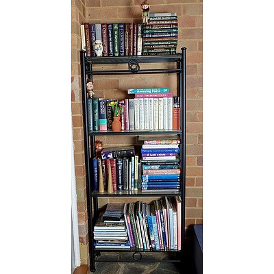Decorative Glass and Metal Bookshelf with a Collection of Books Including Sherlock Holmes, Treasure Island and More