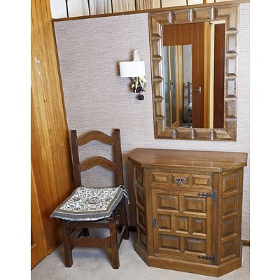 Panelled Hall Cupboard, Mirror and Chair