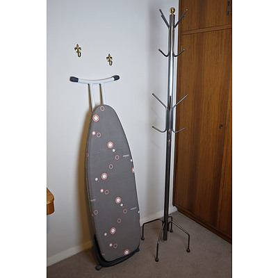 Ironing Board and Metal Coat or Hat Stand