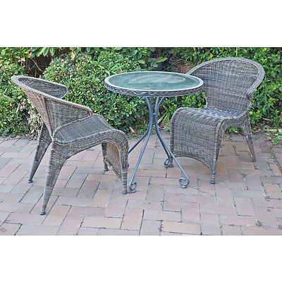 Outdoor Metal and Glass Table with Two Synthetic Wicker Chairs
