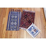 Two Small Eastern Hand Knotted Wool Mats and A Woven Textile Table Runner