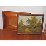 Two Small Framed Oil Paintings, a Sketch, and Two Framed Prints