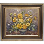 Yvonne Wildash (1915-1974) Gold Flowers Oil on Board