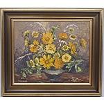 Yvonne Wildash (1915-1974) Gold Flowers Oil on Board