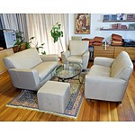 Natuzzi Italian Made Latte Coloured Leather Couches and Chairs