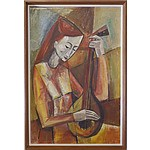 Lola de Mar (Early Canberra Artist) Cubist Mandolin Player Oil on Board