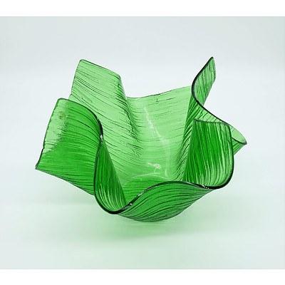Green Handkerchief Art Glass Bowl