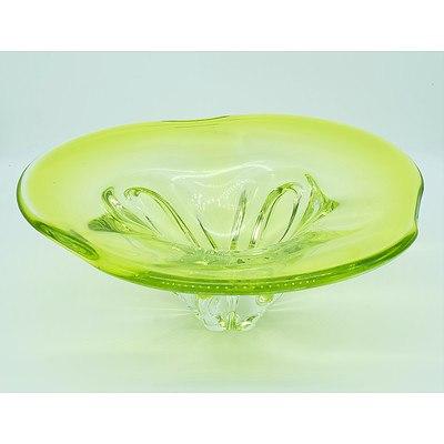 Iridescent Green Art Glass Bowl