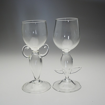 Pair of Clear Glass Goblet Style Vases