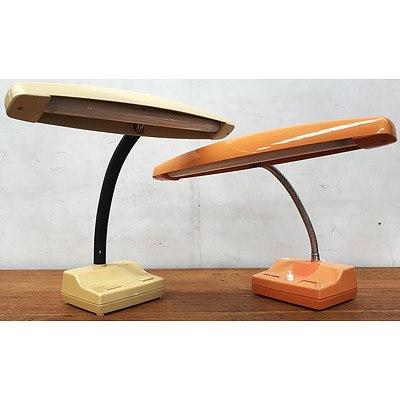 Two Retro Hanimex Desk Lamps