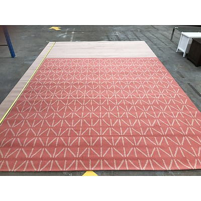 Roll End of Pink / Red Pattern Wool Carpet