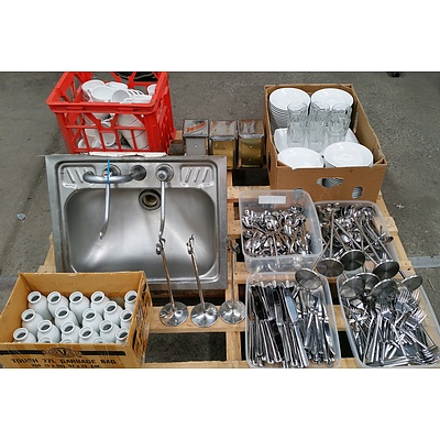 Assorted Commercial Crockery and Cutlery