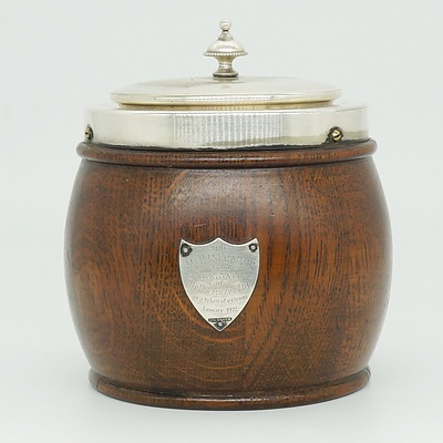 Antique Oak and Silver Plate Biscuit Barrel with Sterling Silver Plaque to Mr Frazer 1922