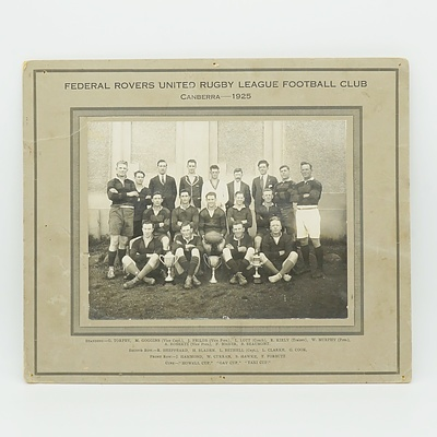 Canberran Federal Rovers United Rugby League Club Team Photograph 1925