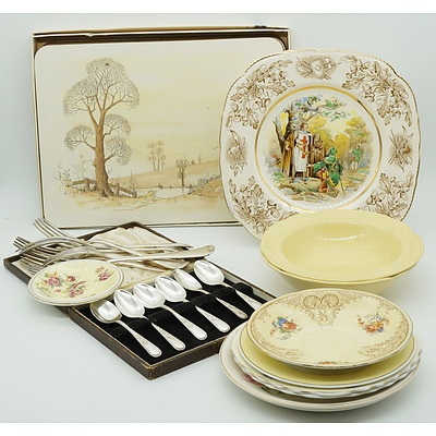 Group of English China, Silver Plate Flatware and More